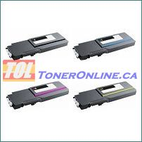 Dell 331-8429 - 331-8432 High Yield Compatible Toner Cartridge 4 Color Set for Color Laser C3760, C3760n, C3760dn