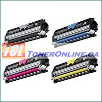 Konica-Minolta 1600W Compatible Toner Cartridge 4 Color Set for Magicolor 1650EN 1680MF