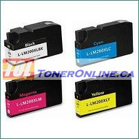 Lexmark 200XL  High Yield Remanufactured Ink Cartridge 4 Color Set for Pro 5500, 5500t, 4000