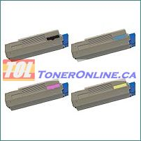 Okidata 43865720 43865719 43865718 43865717 Compatible Toner Cartridge 4 Color Set for Okidata C6150n